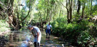 Margens tem muito lixo e água forma bolhas e não espuma de poluição quando cai. Aldemir de Moraes/PMM