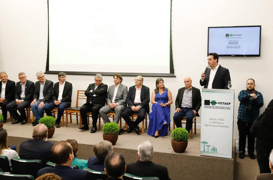 Ratinho Junior participou nesta terça-feira (22) da posse da nova diretoria da Fetaep