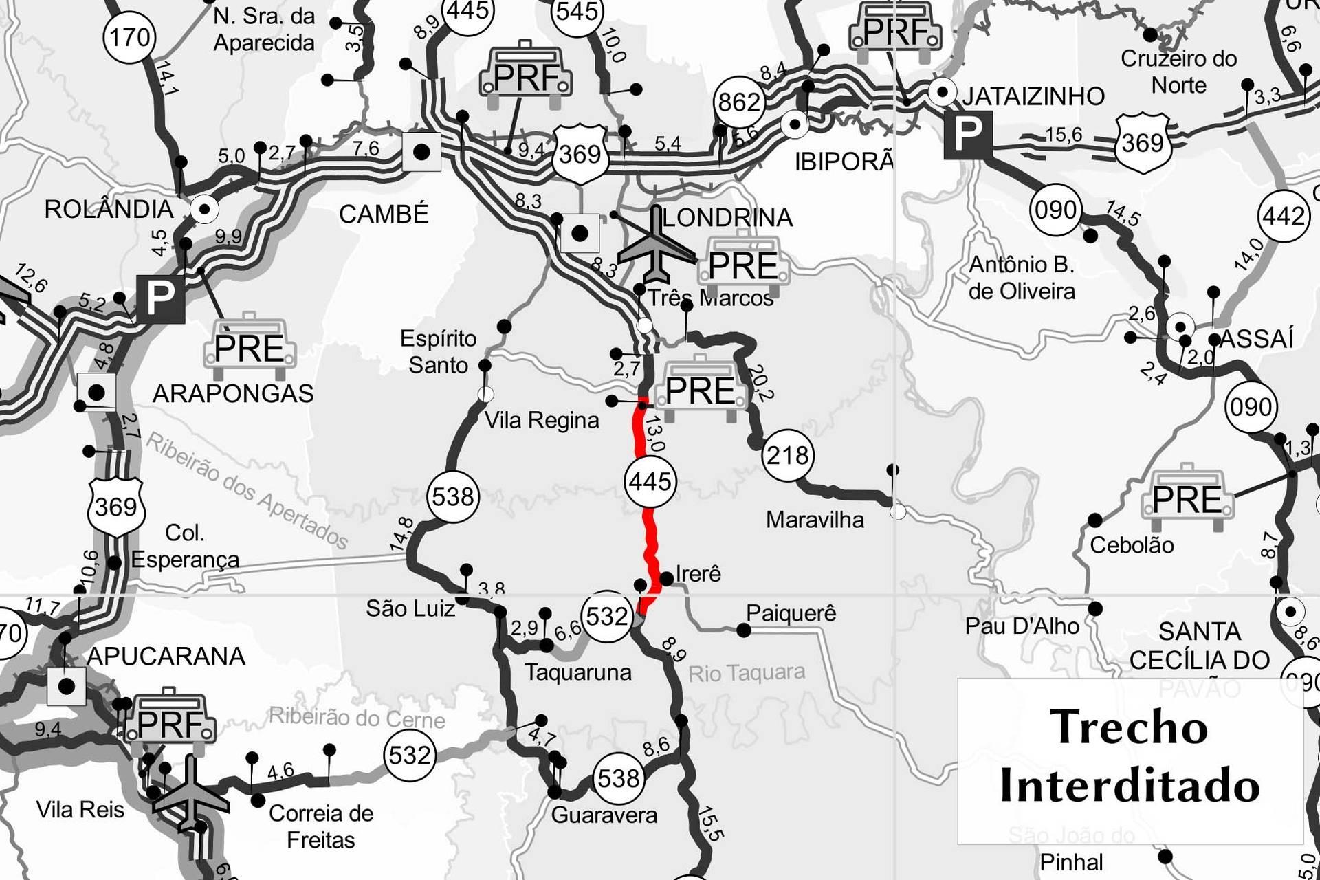 Rodovia entre Londrina e Irerê terá trecho interditado para detonação de rochas, necessária para continuidade dos serviços da obra de duplicação.