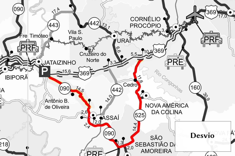 A rodovia federal será interrompida nas proximidades do quilômetro 113, das 14h às 16h, entre Jataizinho e Cornélio Procópio.